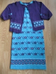 Fine-Knit-turquoise-and-Purple-Flowered-Sleeveless-Dress-with-Cardigan