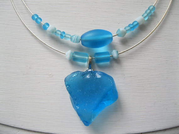 Brilliant-Blue-Beach-Glass-Necklace