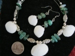 Green Glass-and-Silver-Beads-With-Cocoa-Beach-Shells