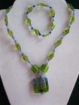 Aqua-and-Green-Glass-Bead-Set