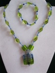 Aqua-and-Green-Glass-Bead-Set