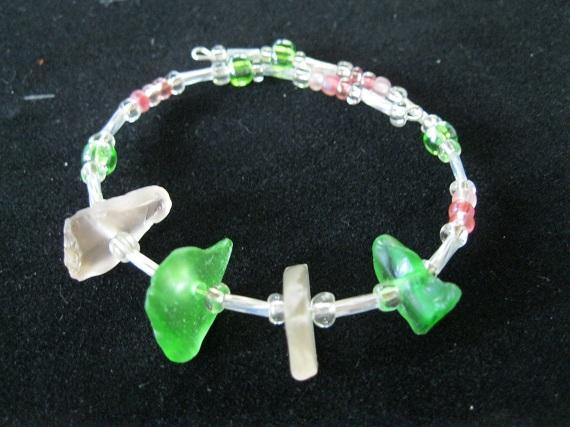 Pink-and-Green-Beach-Glass-Bracelet
