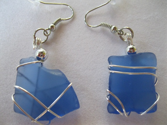 Cobalt-Blue-Beach-Glass-Earrings
