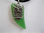 Green-Beach-Glass-with-Owl-Charm-Necklace