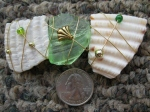 Green-Beach-Glass-with-Shells-Barrette