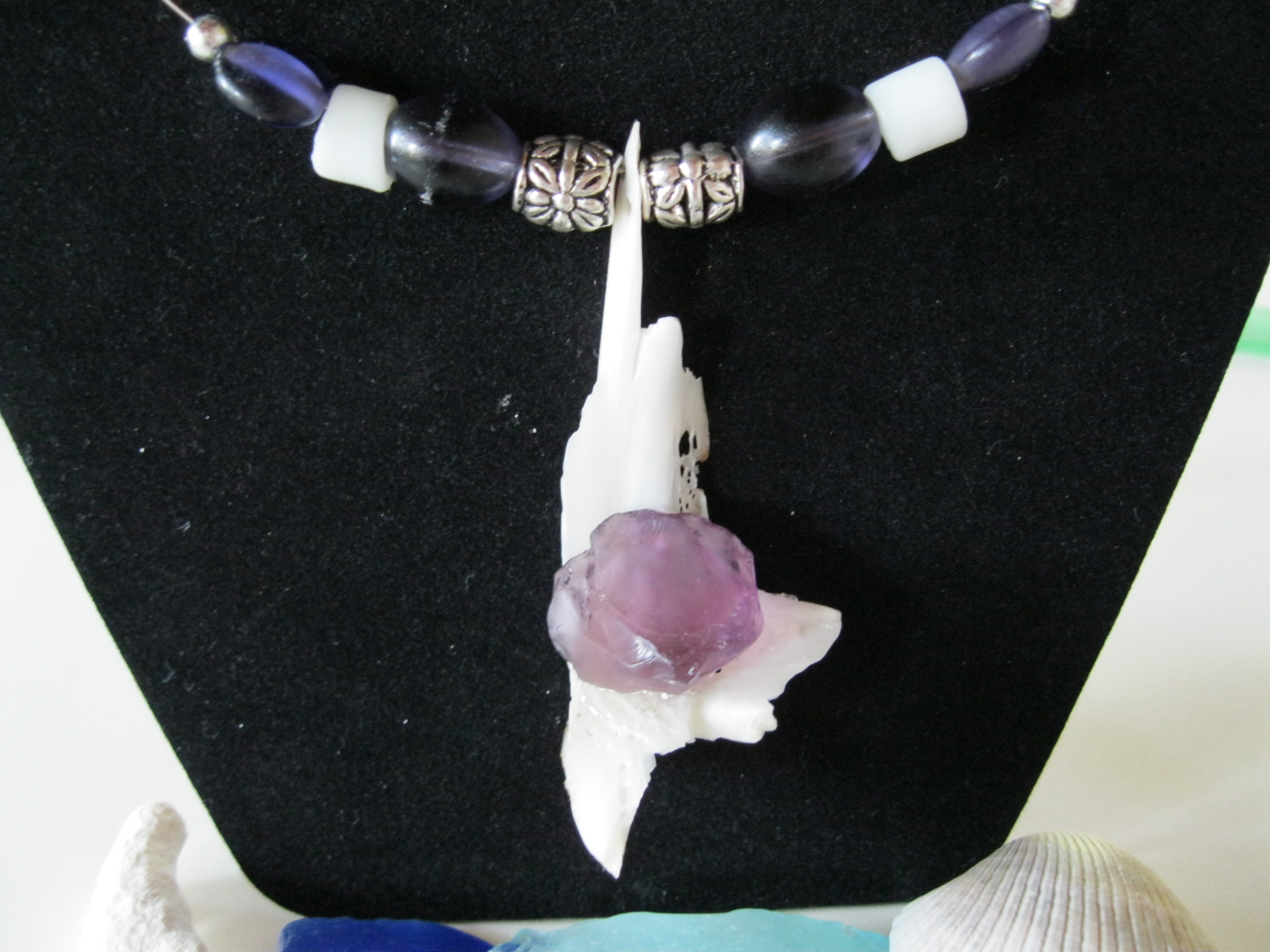 Unique-Beach-Shell-with-Purple-Beach-Glass
