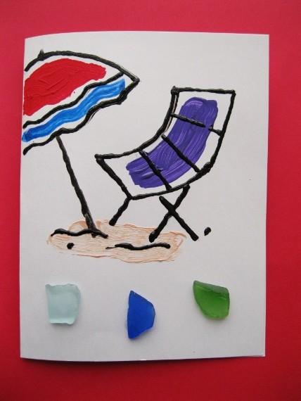 Beach-Chair-and-Umbrella-Greeting-Card