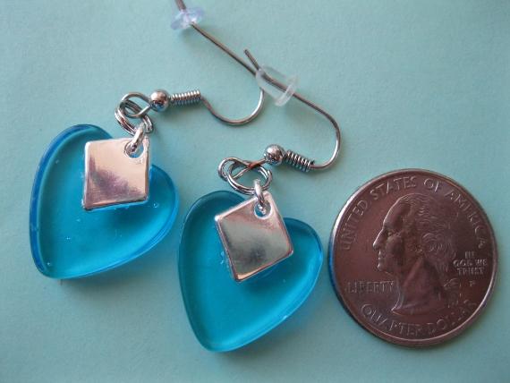 Aqua-Glass-Heart-Earrings
