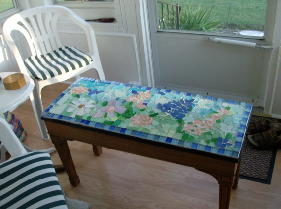 Beach Glass Piano Bench