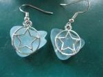 Auqa-Blue-Beach-Glass-with-Star-Charm-Earring