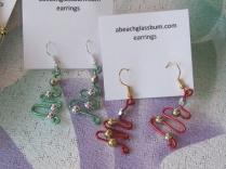 Wire Christmas Tree Earrings - $10