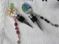 Beach Glass Wine Bottle Stoppers - $20 ea.