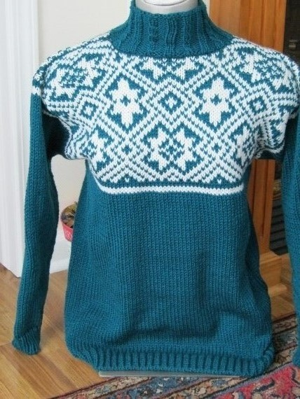 Teal-Geometric-Design-Sweater