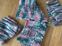 INFINITY SCARF WITH BOOT CUFFS AND FINGERLESS MITTENS